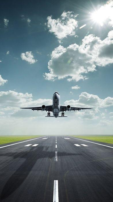 airplane takeoff airport runway sky 1080x1920
