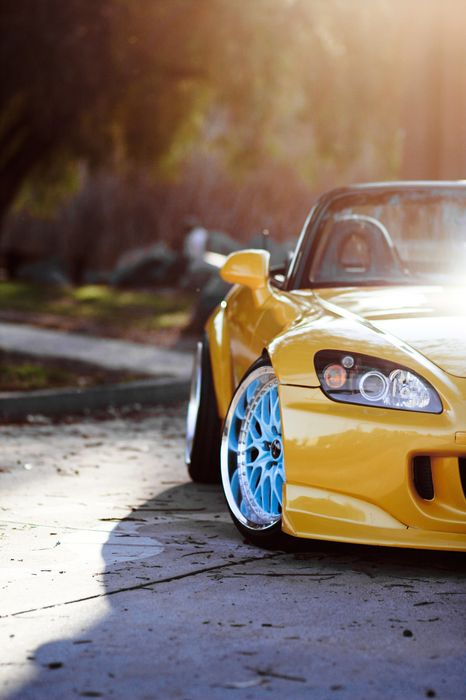 honda s2000 car yellow sportscar roadster cabrio