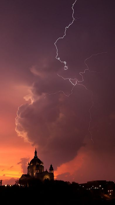 sunset church lightning cloud