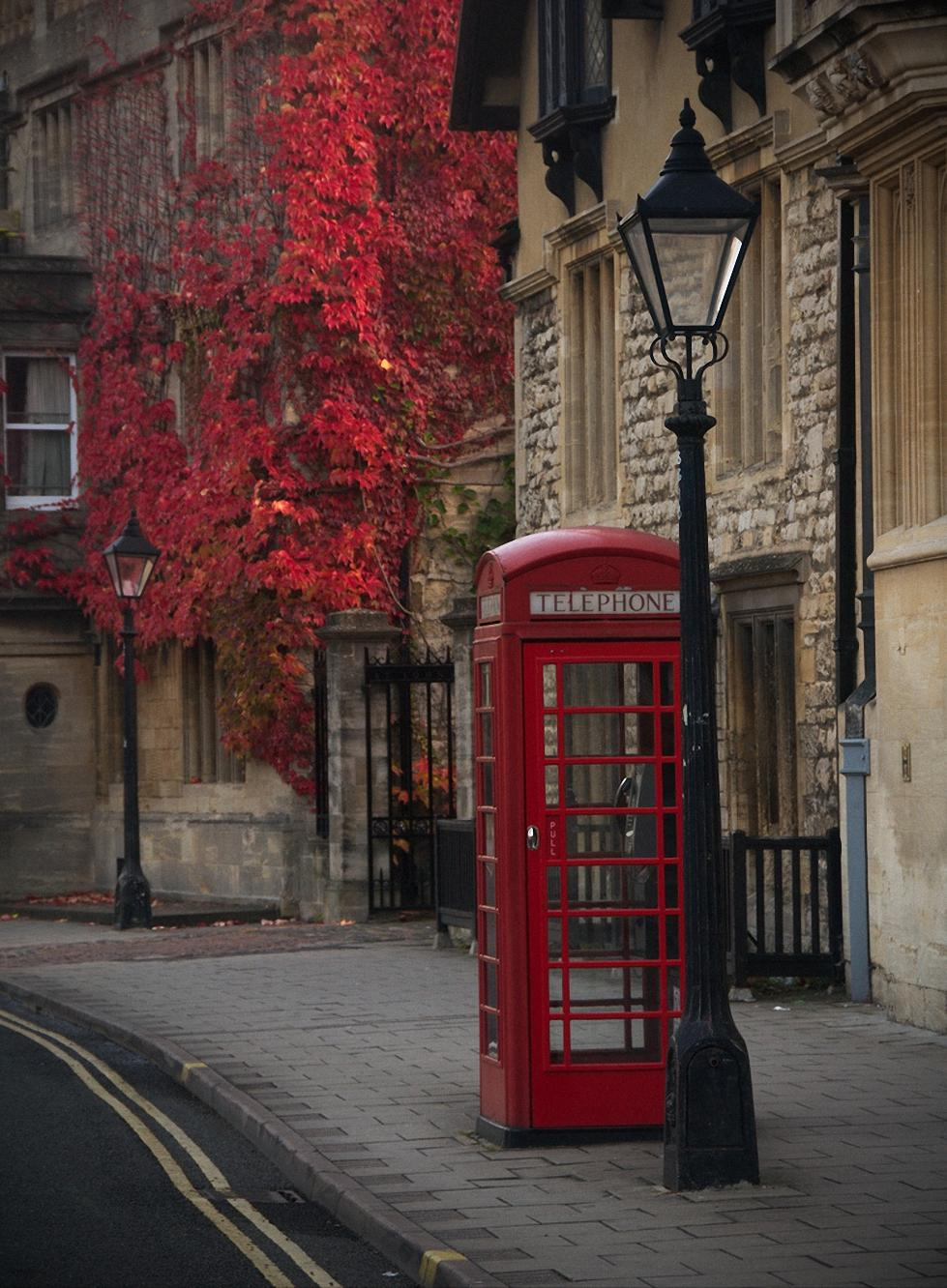London City Red Phone Booth Street Atmosphere