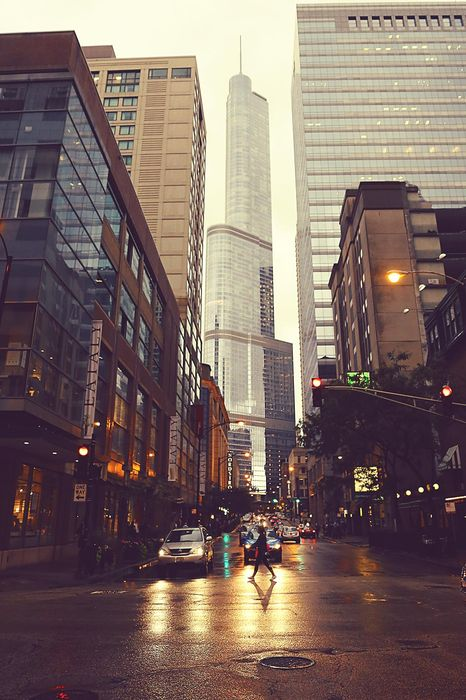 city street skyscraper cars atmosphere
