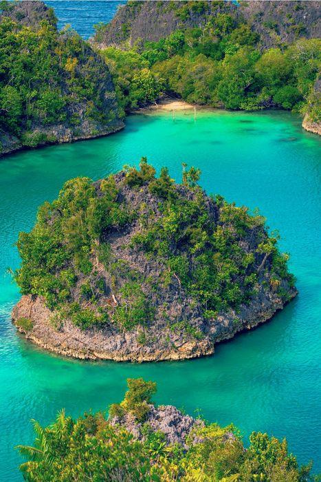 cyan lake island trees