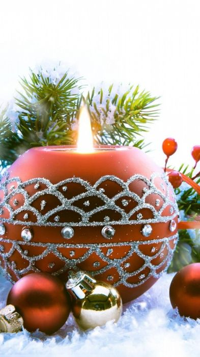newyear christmas candle fire needles decorations snow 750x1334