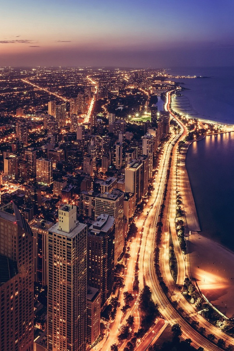 chicago night lights beach