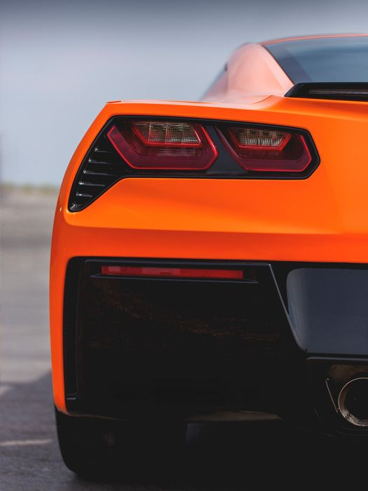 corvette c7 sportcar orange back