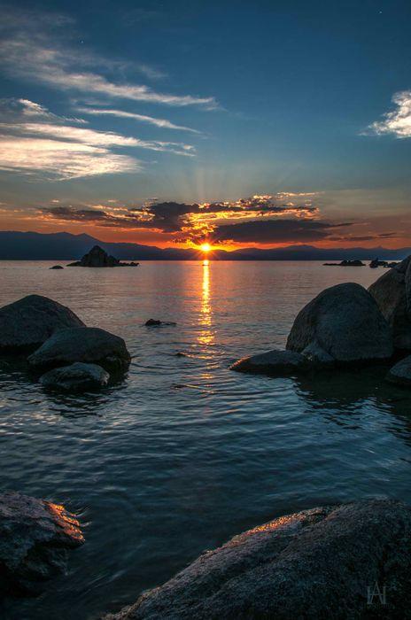 lake water night stone sky