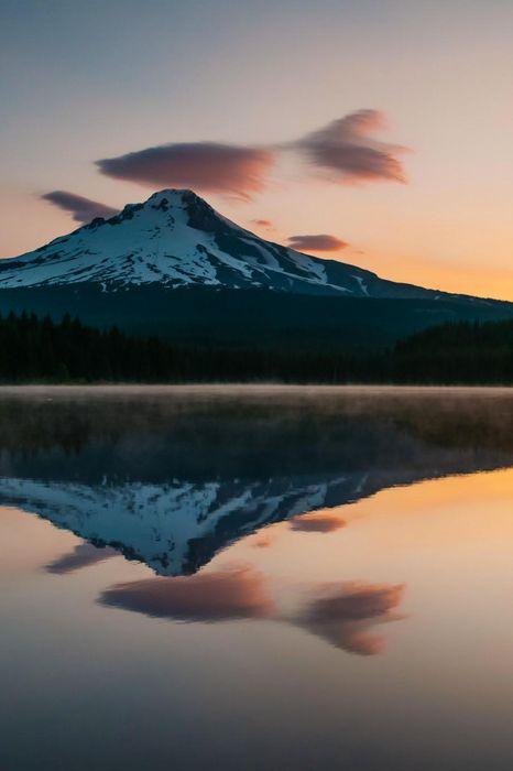mountain sunset lake reflection cloud