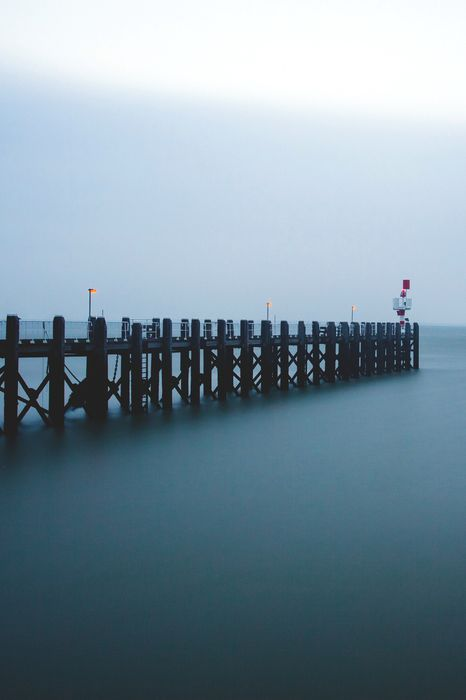 pier bridge fog sea