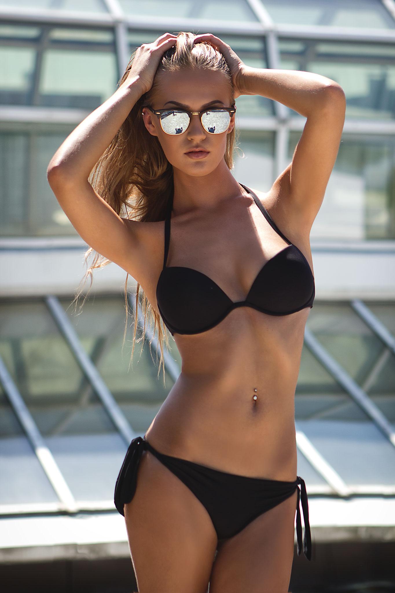 black swimsuit girl beautiful model