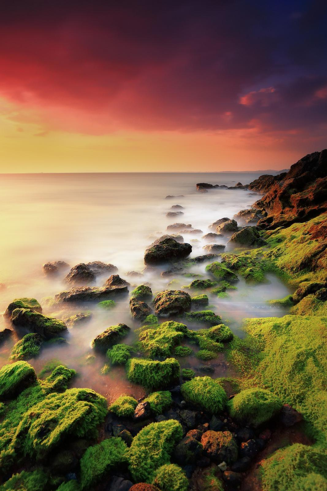 green stones water sunset wallpaper