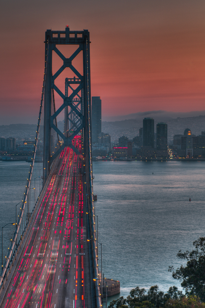 oakland bay bridge sunset