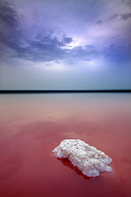pink lake salt violet sky