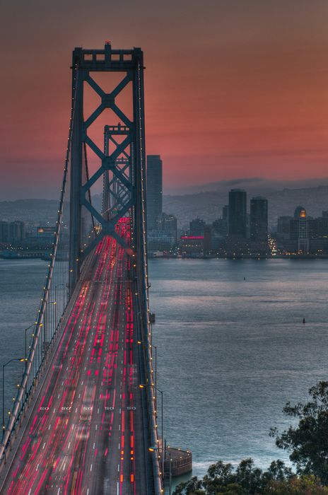 oakland bay bridge sunset
