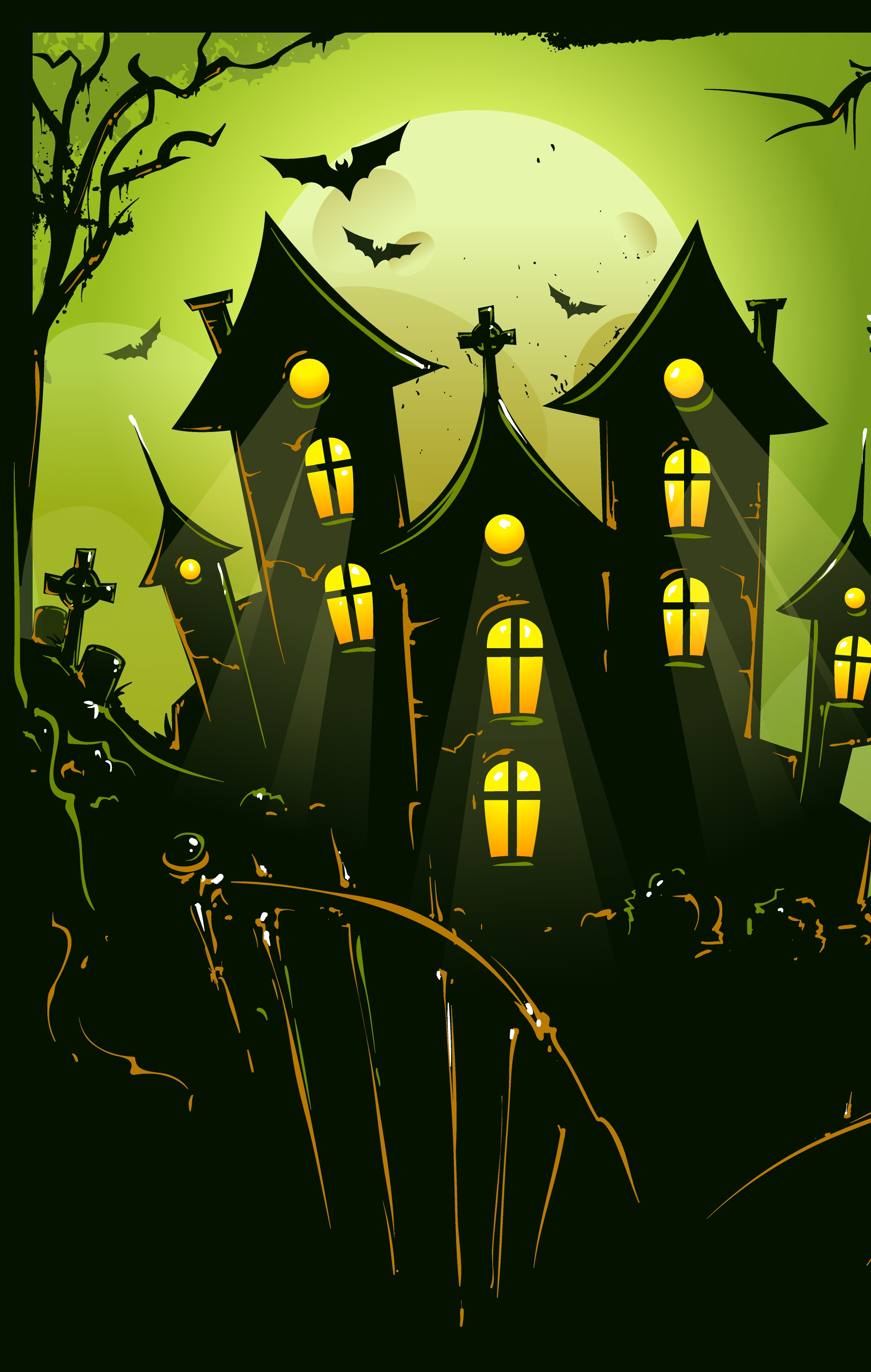 halloween vector illustration silhouette scary horror bat tree leaf graphic light