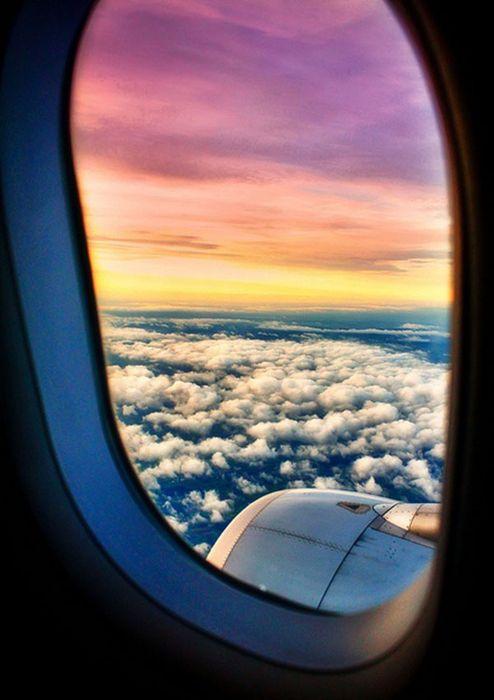 airplane window view sky