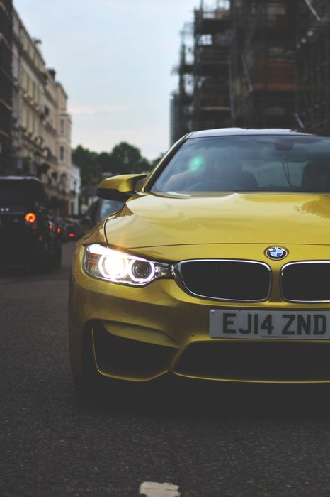 bmw m4 coupe yellow street 1280x1920