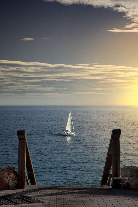 boat sunrise stairs ocean clouds 1280x1920