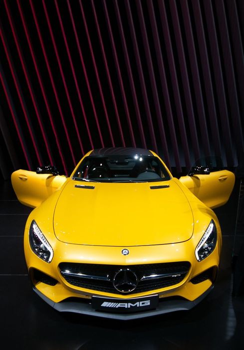 mercedes yellow amg luxury car