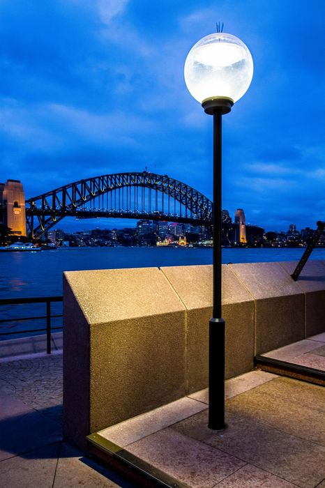 sydney harbour sky lamp clouds bridge