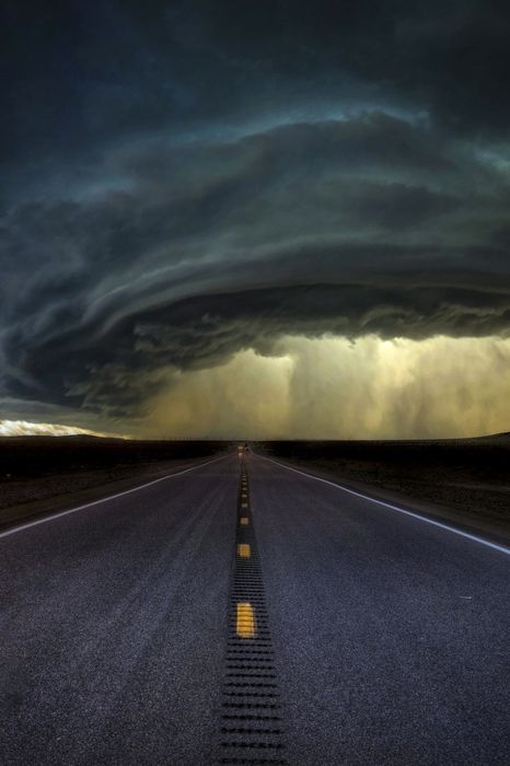 tornado road storm black sky nature