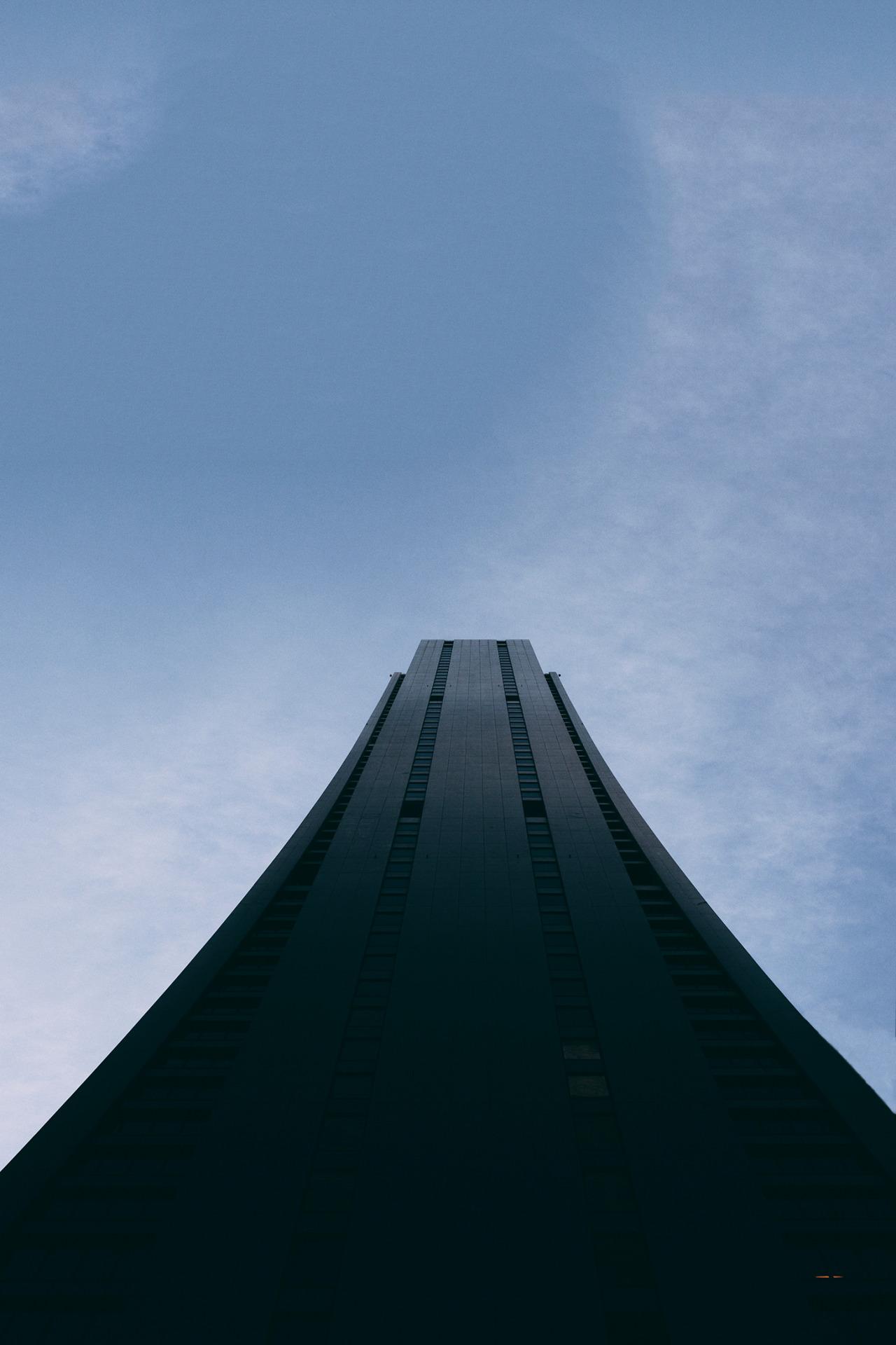skyscraper black tower bottom view sky 1280x1920