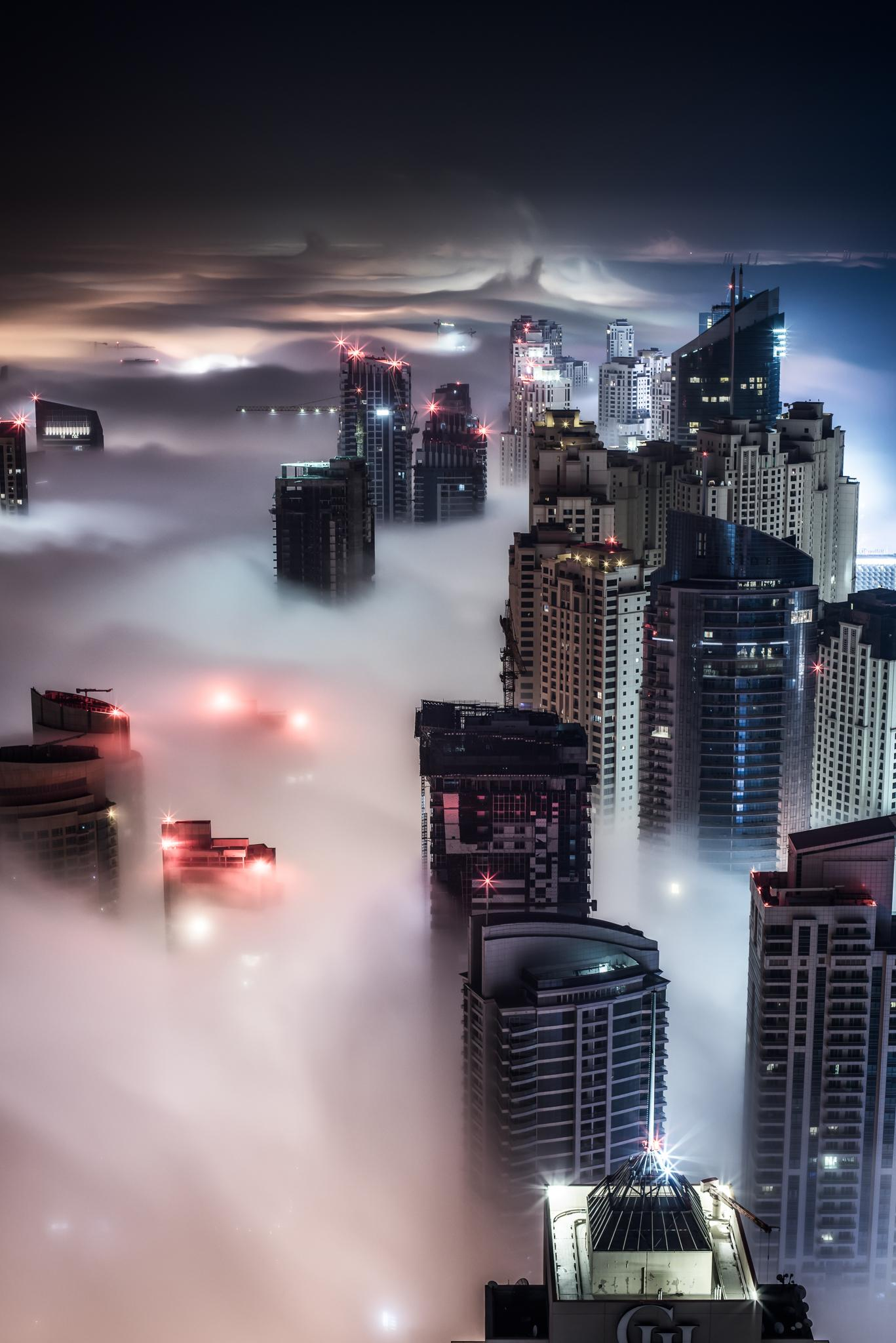 city night skyscrapers fog wallpaper