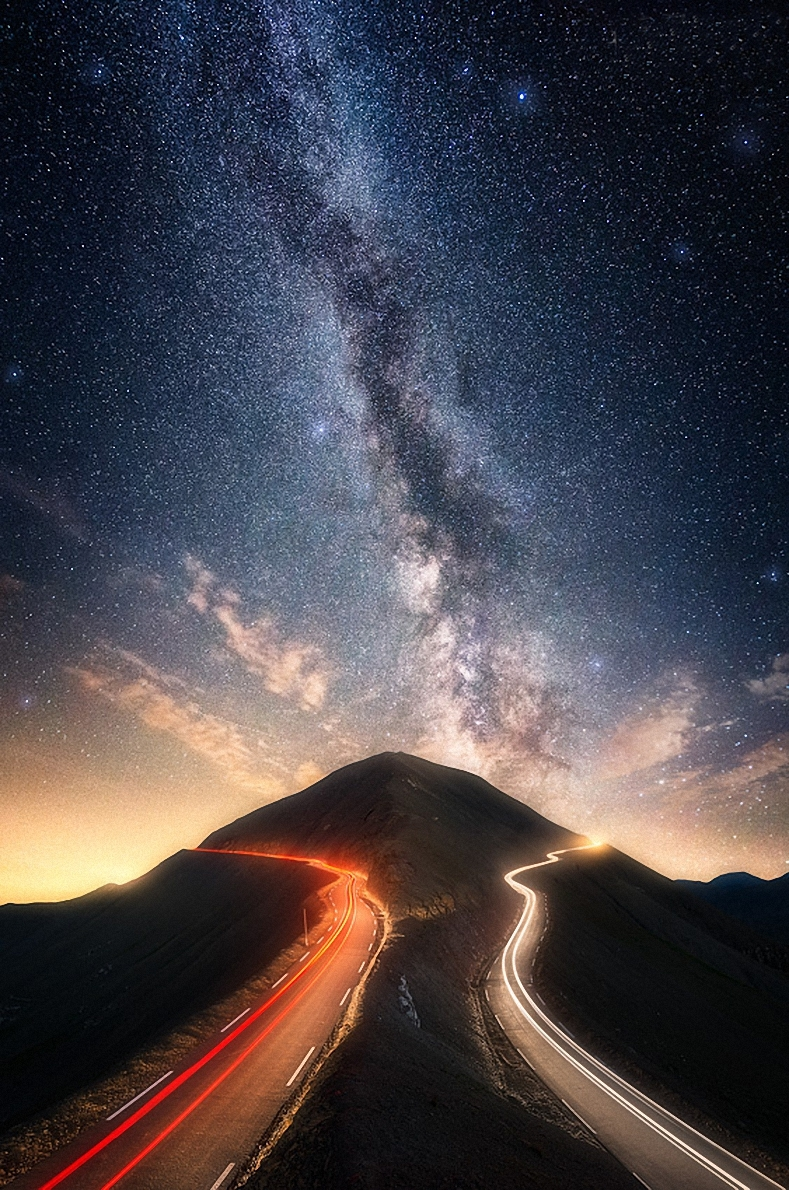 milkyway road lights start space paolo lombardi