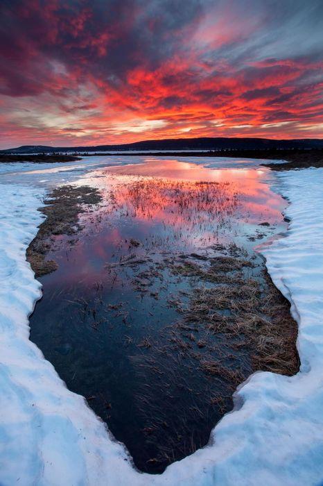 lake snow sunset lars overbo
