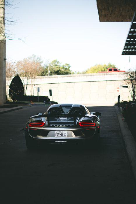 porsche 918 spyder sportcar street back 1280x1920