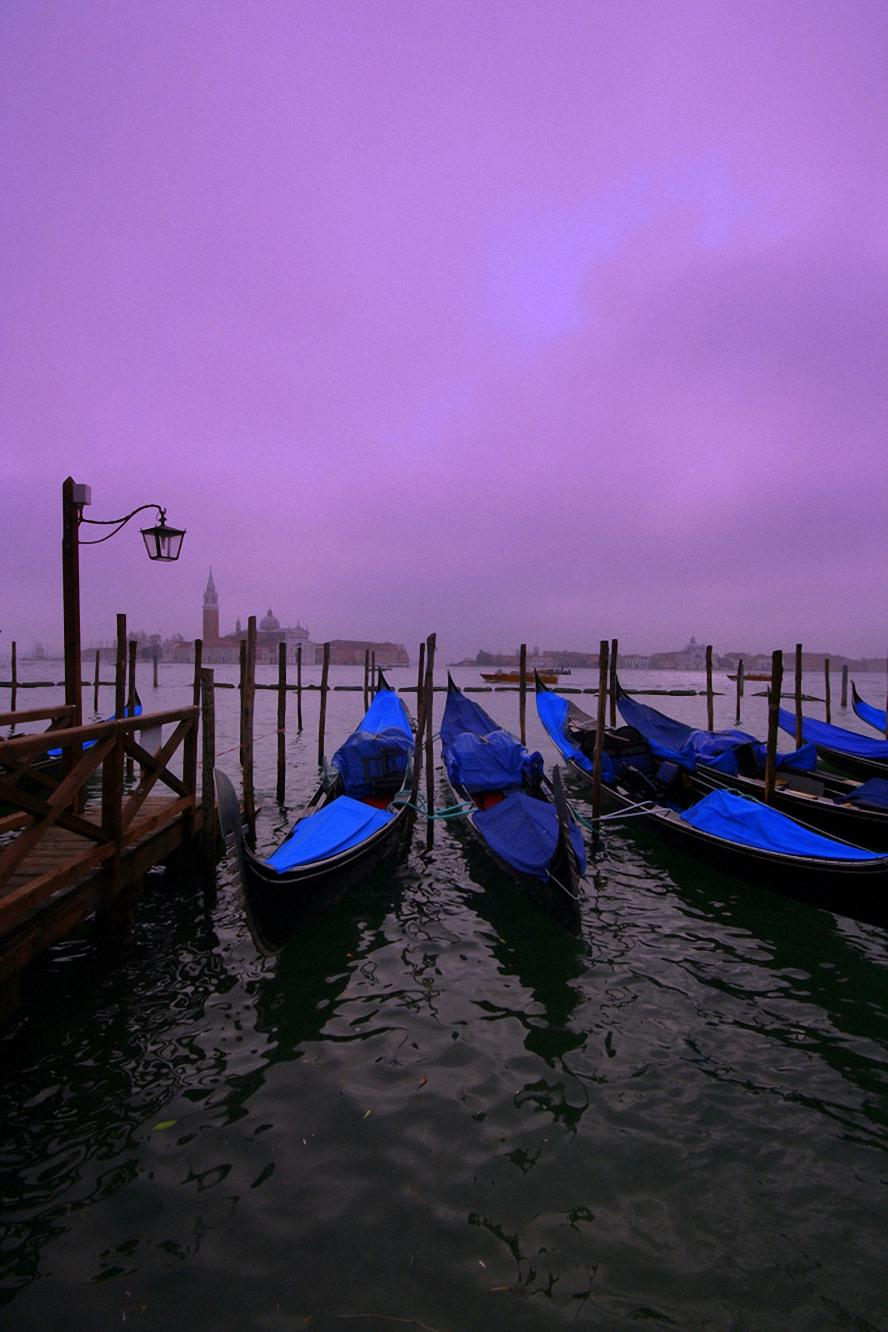 blue boats violet sky water