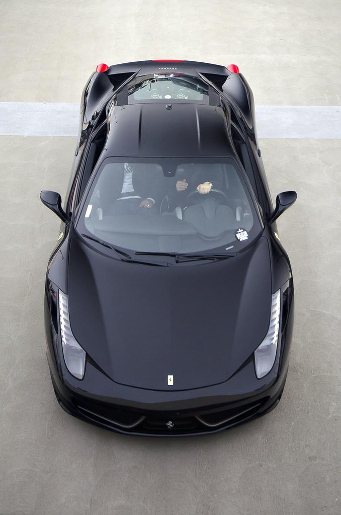 ferrari italia 458 black top view