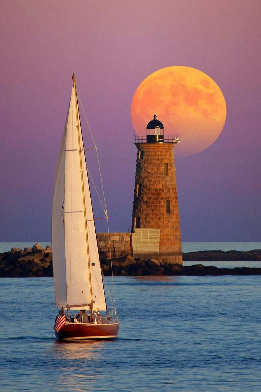 lightshouse moon boat water sunset