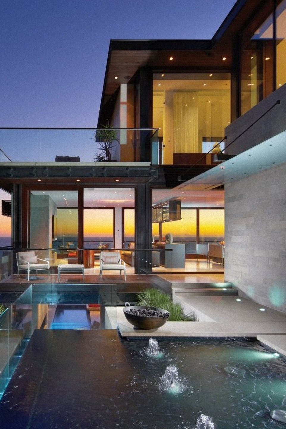 luxury house sunset modern