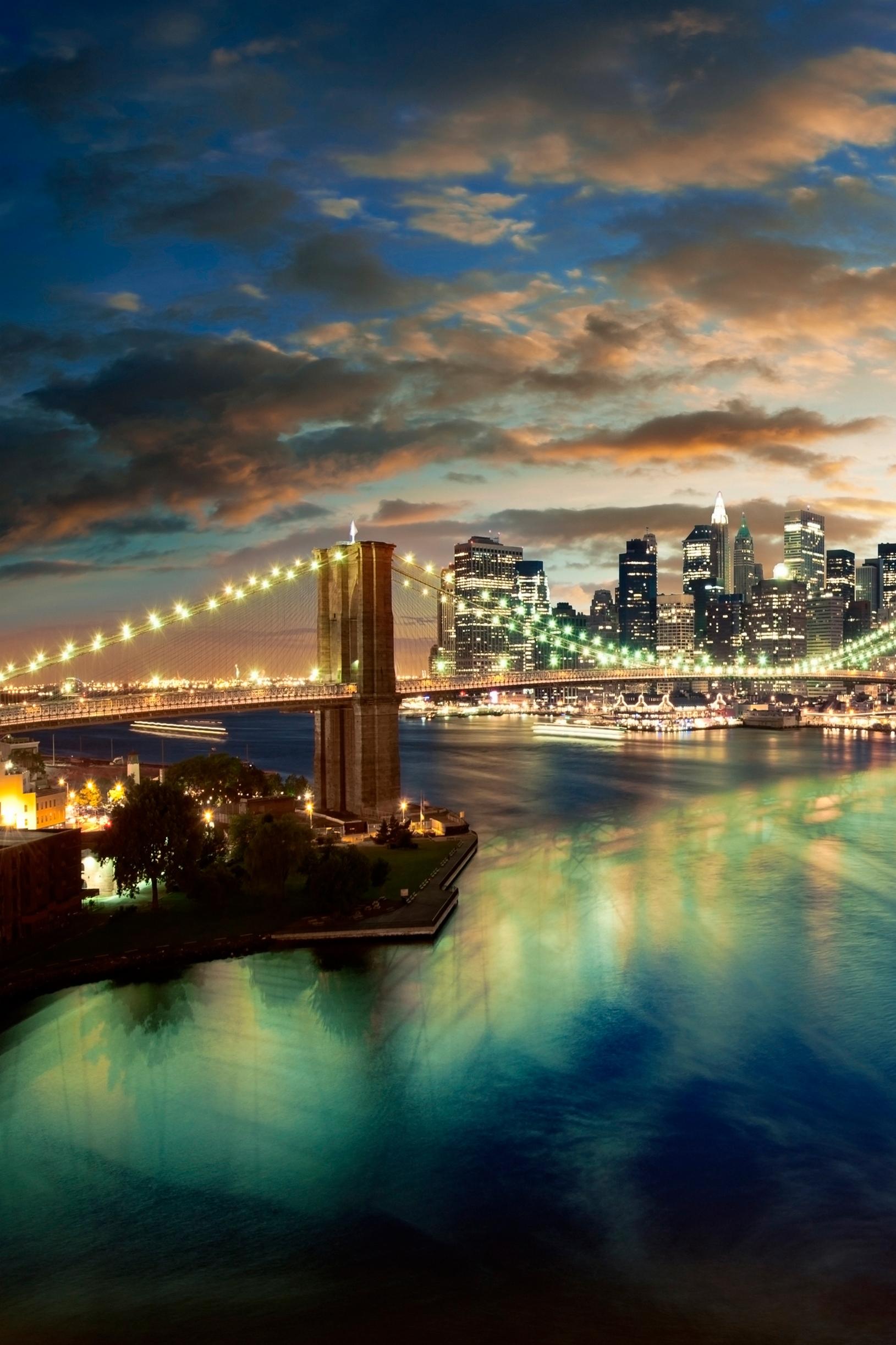 nyc city cityscape urban building skyline bridge river night retina