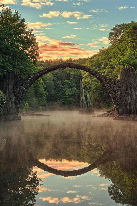 bridge round lake reflection