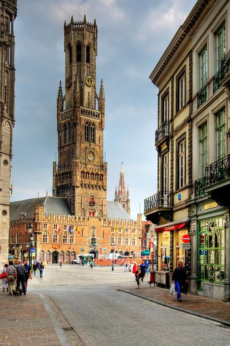 bruges architecture city building street europe travel sky old