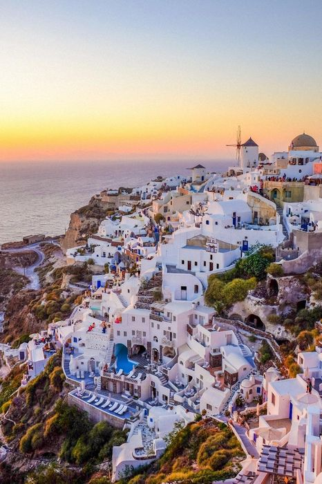 greece santorini white houses sea sunset