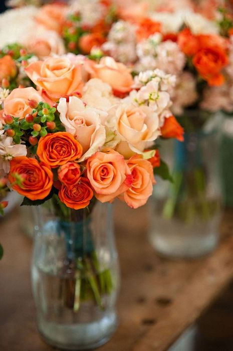 roses flowers orange bouquet