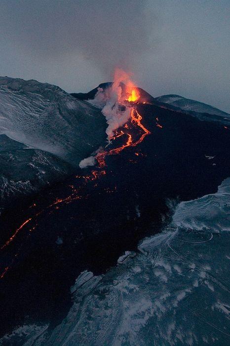 volcano night