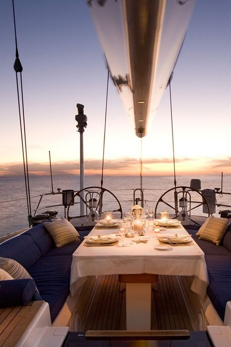 yacht sunset supper