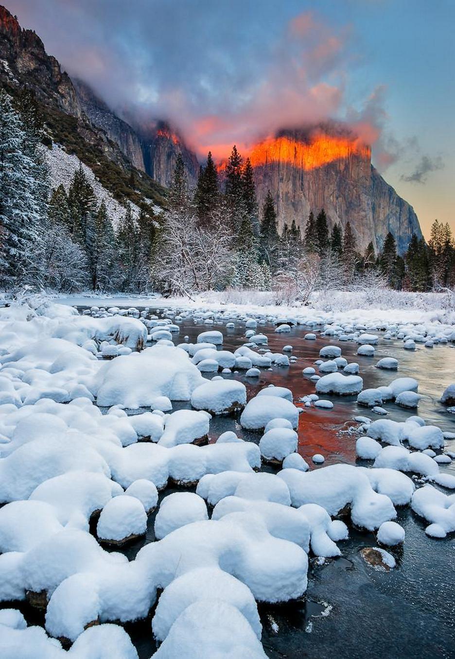 snow mountains trees river 750x1334