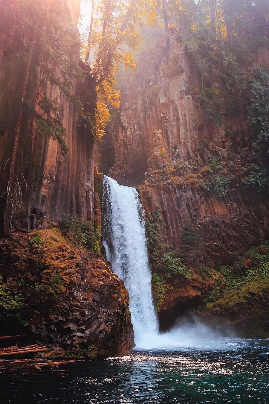 waterfall forest lake cliffs wallpaper
