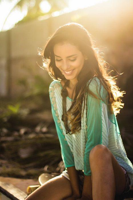 adorable girl in green smile