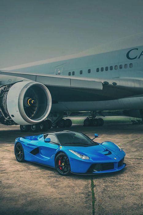 ferrari laferrari blue plane