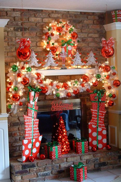 fireplace christmas decorations lights