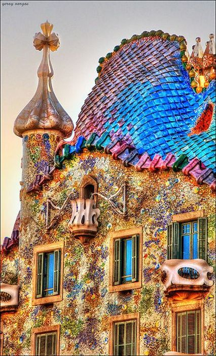 gaudi barcelona house colored