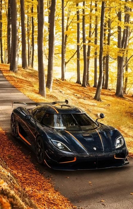 koenigsegg agera black sportcar orange autumn road iphone retina