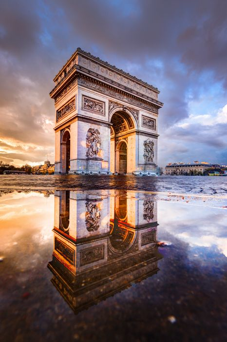 paris acr de triomphe architecture travel landmark sky retina