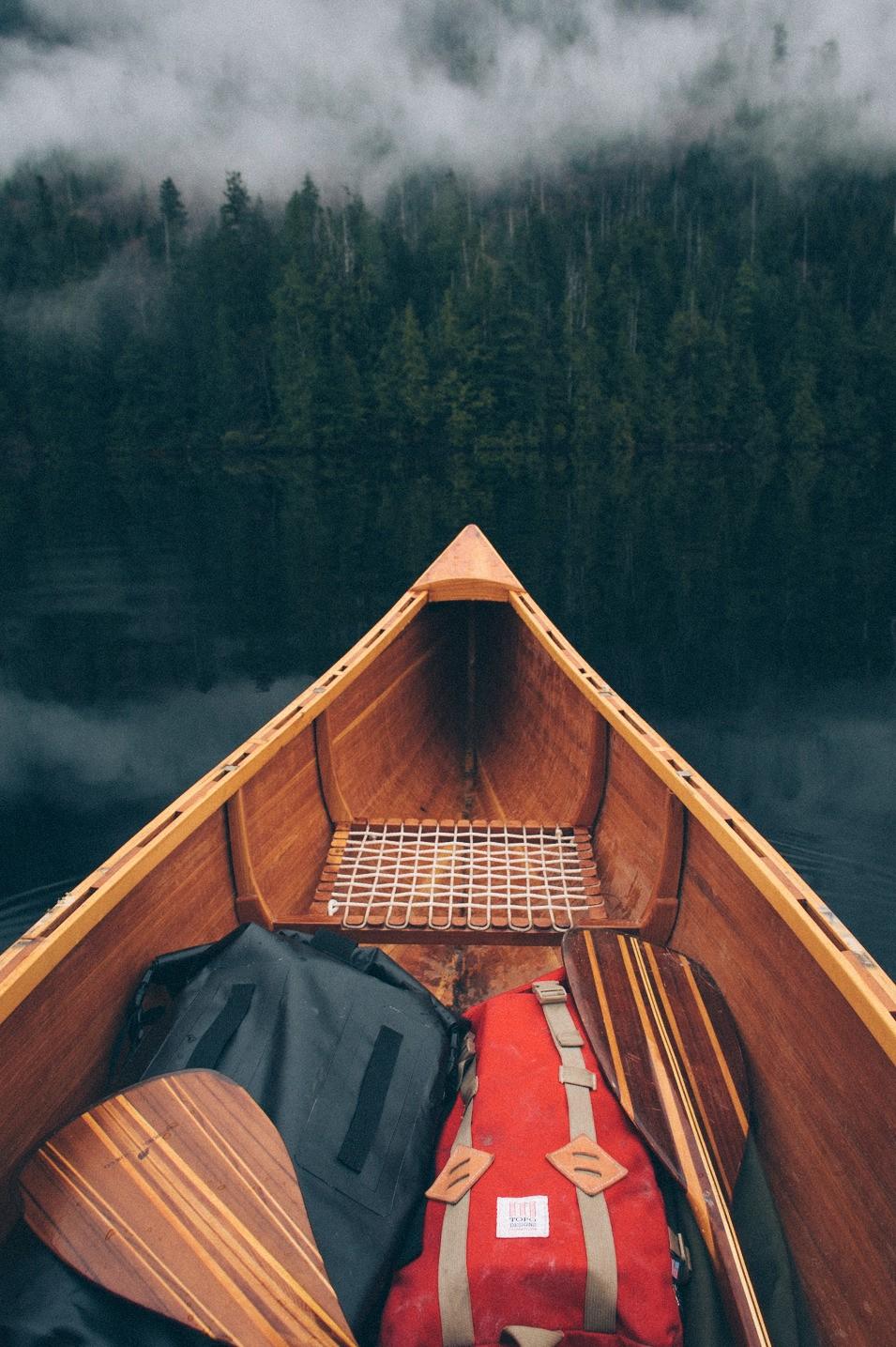 boat forest fog river