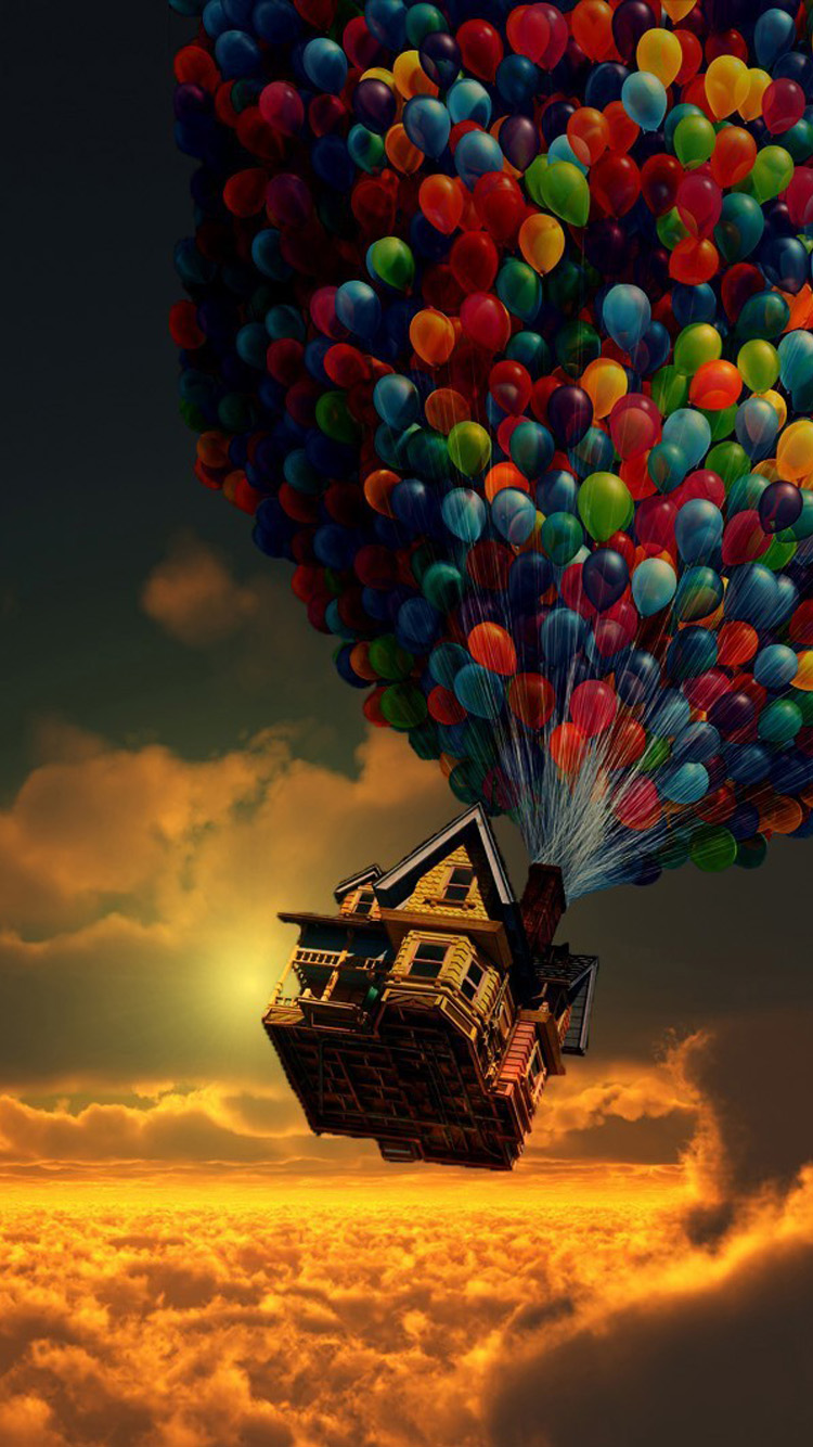 house baloons yellow clouds in sky flying